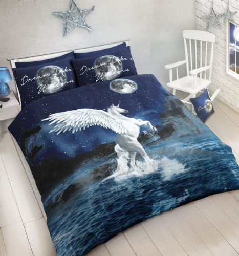 BLUE WHITE FLYING UNICORN STARS DESIGN LARGE PANEL PRINTED BEDDING DUVET COVER SET